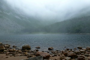Fog rolling in on Katahdin at Chimney Pond